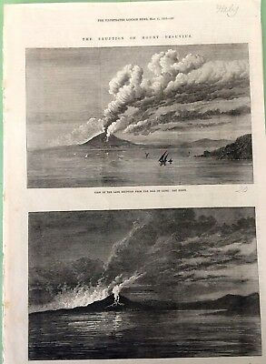 The Eruption of mount VESUVIUS CAPRI NAPOLI  da the Illustrated London News 1872