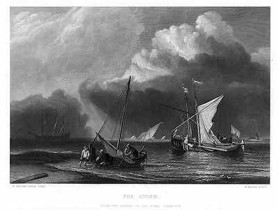 The Storm  BARCHE IN ALTO MARE incisione tratta da  The Art Journal 1858