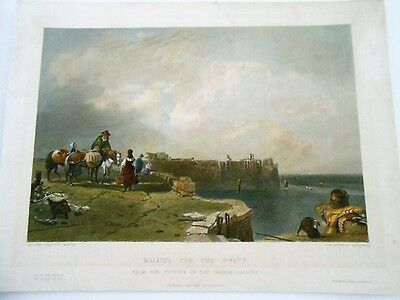 CALLCOTT-KERNOT Waiting for the Boats  In attesa  delle barche  colorata 1850