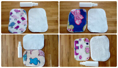 10 Standard washable wipes for reusable nappies Bamboo terry & fleece cheeky