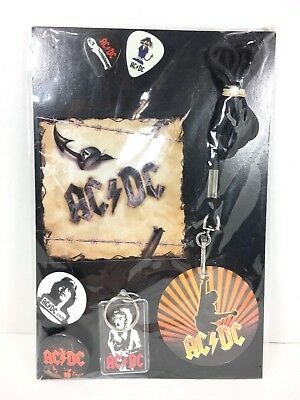 AC/DC Novelty Promo Kit Guitar Picks Pins Lanyard Keychain Angus Young ACDC