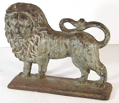 1880s CAST IRON FOLK ART LION DOORSTOP IN ORIGINAL PAINT - MASSIVE 12 POUND LION