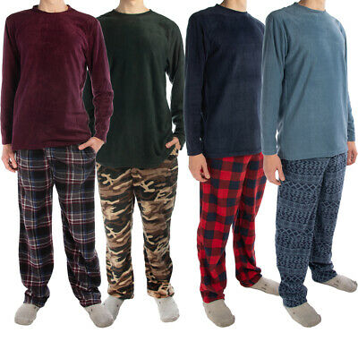 2pc Joe Boxer Men's Fleece Pajamas Set - Soft Shirt, Warm Pants