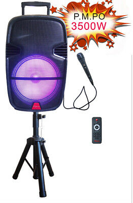"3500W 15"" Portable Remote Audio PA Speaker w/ Bluetooth USB Mic Stand 15 inch"