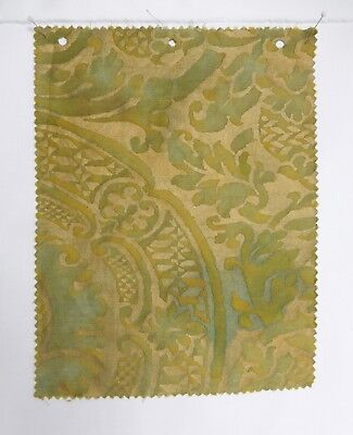 """Piece of Authentic Fortuny """" Orsini """" Fabric. Bayou Green & Gold."""