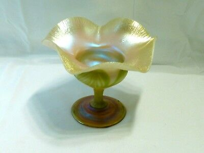 Antique Authentic Signed Tiffany Favrile Glass Mint Dish-Stunning Estate Find