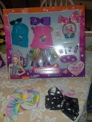 NEW My Life As Jo Jo Siwa 15 PIECE TRAVEL SET FOR DOLL & 2 LARGE HEAD BOWS LOT