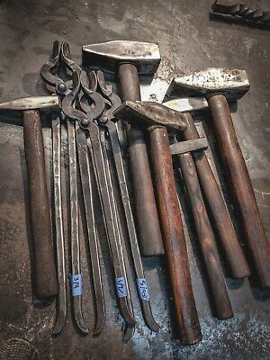 Large lot Blacksmith tools 6 Picard cross peen hammers 3 bolt jaw tongs handmade