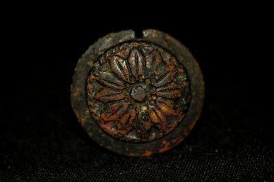 Authentic Ancient Roman Gilt Bronze Medallion Pendant Solar Shield 200 - 300 AD
