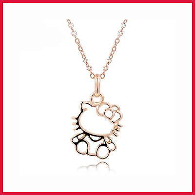 Hello Kitty Necklace Cute ROSE GOLD Pendant For Tee Womens