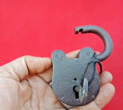 Old Vintage Antique Rare  Solid Iron Brass Lock and Key 7 Lever India