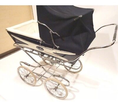BEAUTIFUL POSH Silver Cross Berkeley Navy Blue Pram Stroller Carriage Vintage