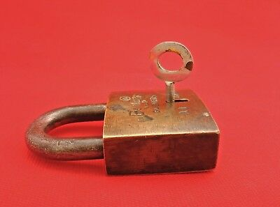 Old Vintage Antique Rare 6-Lever Iron Brass Lock and Key Bontox Brand India