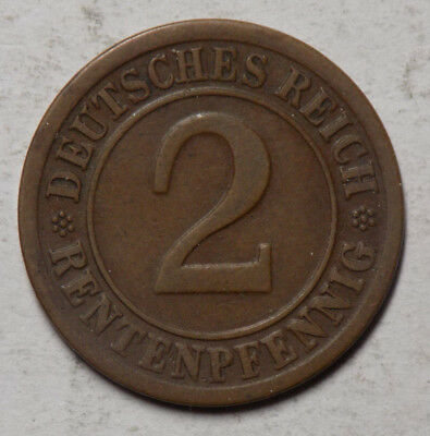 Germany 1924F 2 Renenpfennig Coin