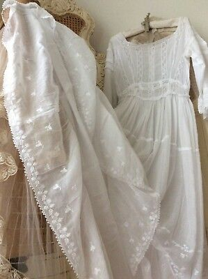 EXQUISITE Antique French Lawn Dress~Delicate Broderie Anglais Lace Wedding Gown