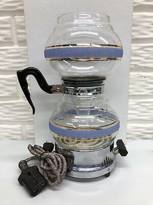 Vintage Kent Vacuum Coffee Pot with Pebbled Blue Stripes Inc. Electric Hot Plate