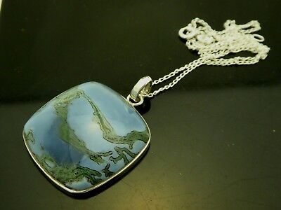"""Natural South African Blue Opal Gemstone Sterling Silver Pendant Necklace 18"""""""