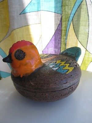 Rare vintage Mid-Century Bitossi Italian pottery rooster covered dish