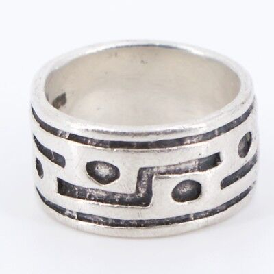VTG Sterling Silver - Geometric Overlay Band Ring Size 6.25 - 8.7g