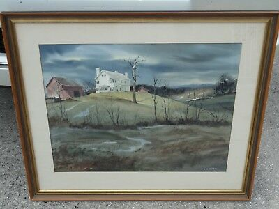 Original Vintage Main Freehold New Jersey Artist Wini Smart Watercolor Painting