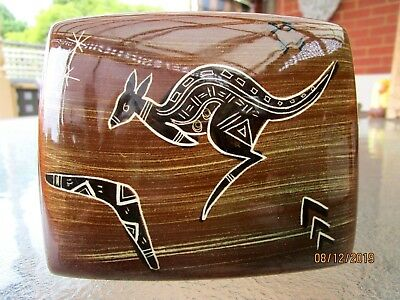Vintage Studio Anna Aust Pottery Kangaroo Trinket Box With Lid