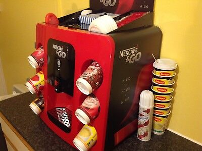 Nescafe & Go Coffe and Hot Drinks Machine red/black mint condition with manual