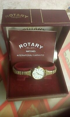 Rotary Vintage Swiss Quartz Gold Plated Ladies Watch Stretchable Bracelet Newbat