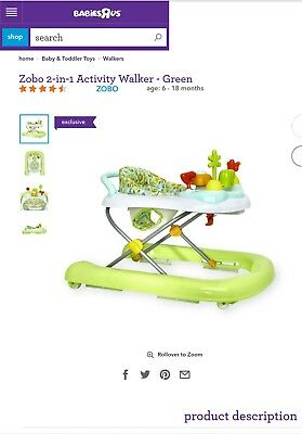 Zobo 2-in-1 Activity Walker (used walker) LOCAL PICK UP ONLY.