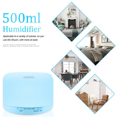 500ML Ultrasonic Aromatherapy Diffuser Air Humidifier + Measuring Cup & Remote