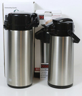NEW 2 THERMAL CARAFES - OGGI PUMPMASTER + CHOICE STAINLESS BEVERAGE SERVER Lever