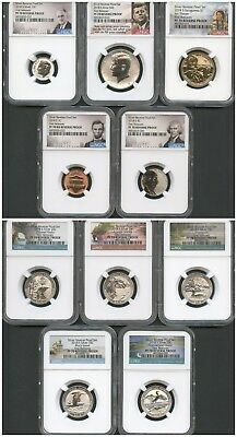 2018 S SILVER REVERSE PROOF 50th Anniversary 10 PC set NGC PF70 FIRST RELEASES.