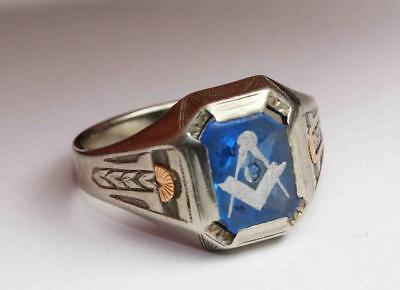 antique 10K Two-Color GOLD MASONIC RING w/ BLUE STONE - MASON