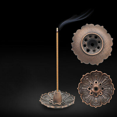 Lotus Incense Burner Holder Flower Statue Censer Plate For Sticks&Cone 9Hole