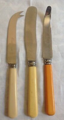 Vintage Cheese, Grapefruit & Butter Spreader All With Faux Bone Handles
