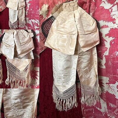 Antique C1900 French Watermark Silk Communion Bow beautiful tassels embroidery