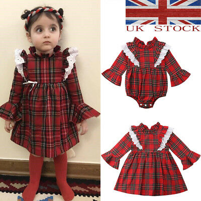 UK Xmas Newborn Kid Baby Girls Lace Plaids Romper Bodysuit Dress Outfit Clothes*