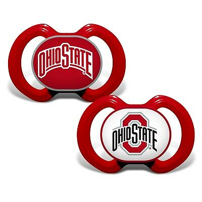 74dbacd760d8 Ohio State Buckeyes Pacifiers 2 Pack Set Infant Baby Fanatic BPA Free NCAA  NWT