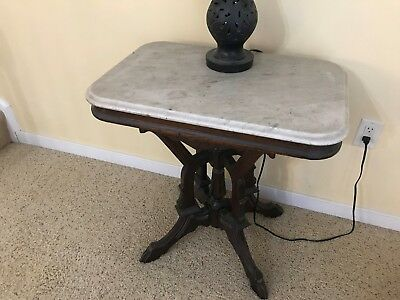 Antique Carved Mahogany Table With White Marble Top, Estate Piece Excellent