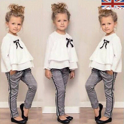 Casual Toddler Baby Girl Chiffon Tops T-shirt+Trousers Pants Clothes Outfits UK*