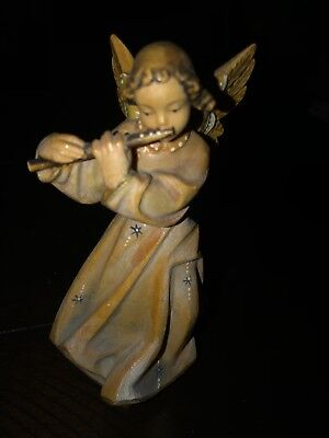Rare Beautiful Antique VINTAGE hand carved painted ANGEL wooden FIGURINE