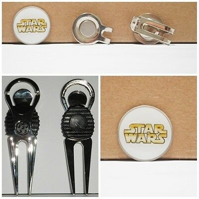 2 only STAR WARS  GOLF BALL MARKERS WITH NICE  DIVOT TOOL & HAT CLIP