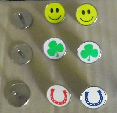 2 ONLY 18mm  Stemmed GOLF BALL MARKER - Smiley Face, Shamrock, Lucky Horse Shoe