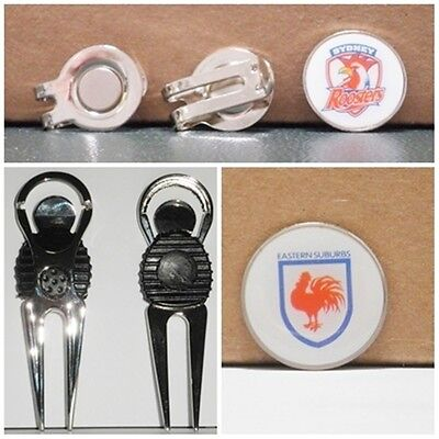 2 only SYDNEY ROOSTERS  GOLF BALL MARKERS WITH NICE  DIVOT TOOL &  HAT CLIP SET