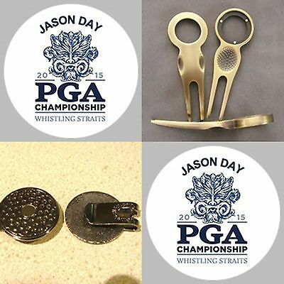 2 Jason Day Pga Champion 2015 Tribute Golf Ball Markers A  Divot Tool & Hat Clip