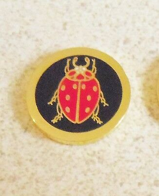1 only BLACK & RED BEETLE GOLF BALL MARKER approx 23mm