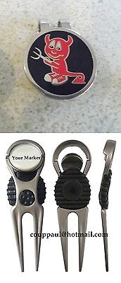 2 only DARK RED DEVIL GOLF BALL MARKERS PACKAGE - NICE DIVOT TOOL &  HAT CLIP