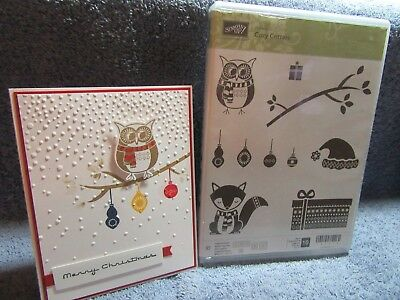 stampin up COZY CRITTERS-Christmas fox-owl-branch-Santa's hat-NEW-lot + card