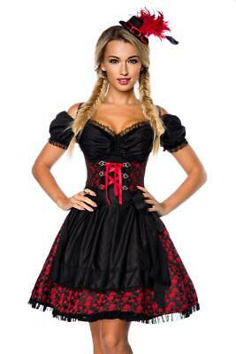 Premium Dirndl with Blouse Apron Dirndline Jacquard Fabric Black Red Size XXL