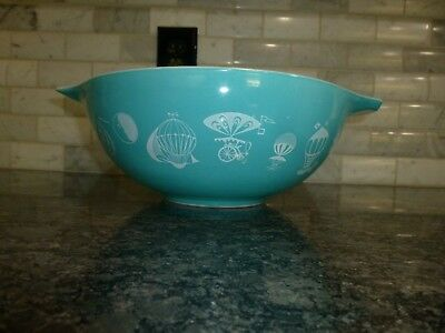 Vintage Pyrex 4 qt Turquoise HOT AIR BALLOON Cinderella Mixing Bowl
