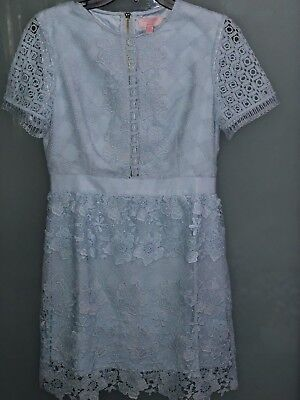 Ted Baker Baby Blue Dixa Layered Lace Skater Cocktail Dress